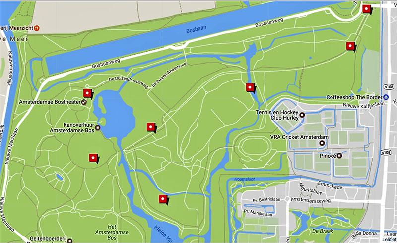 Kaart Amsterdamse Bos
